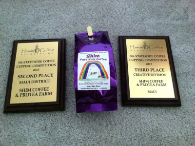 Plaques and coffee bag